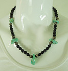 Navajo Native American Necklace Onyx Silver Beads Turquoise