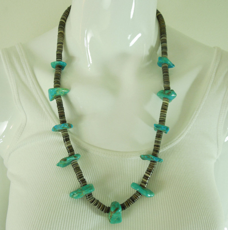 Santo Domingo Pueblo Necklace Shell Heishe Beads Turquoise