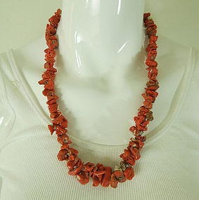 Vintage Red Coral Necklace Very Large Branches 92 Grams