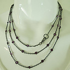 19th C 56 In Berlin Iron Gunmetal Sautoir 52 Purple Collet Set Stones