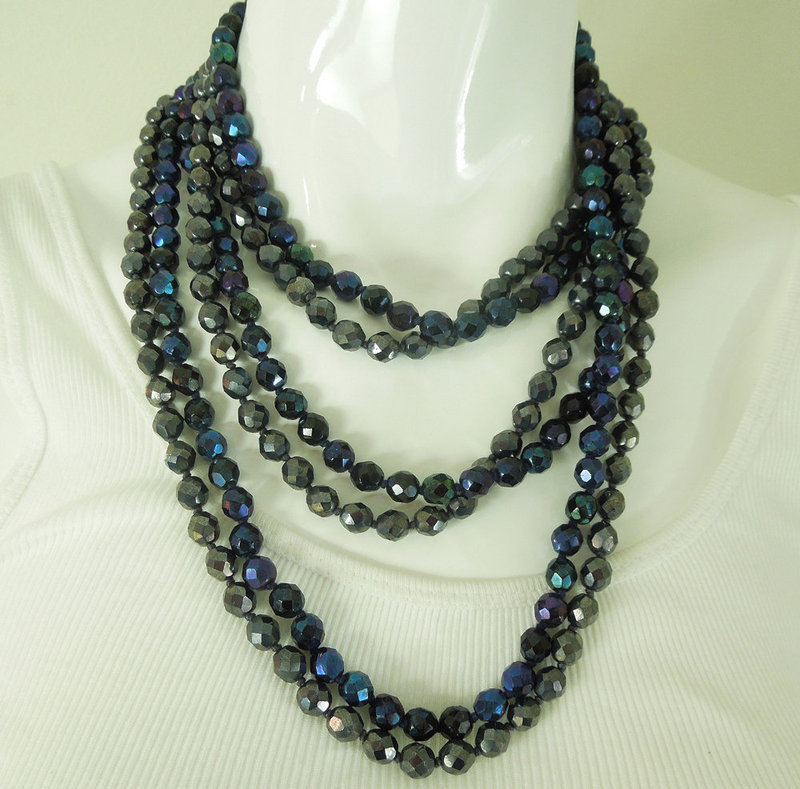 Pair 1970s Peacock Silver Vitrail Glass Long Necklaces 62 Inches Each