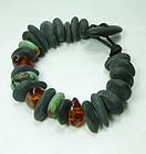 Couture River Stone Chinese Turquoise Amber Leather Bracelet