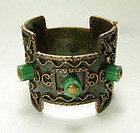 1960s Signed Casa Maya Mexican Copper Brass Hinged Bracelet