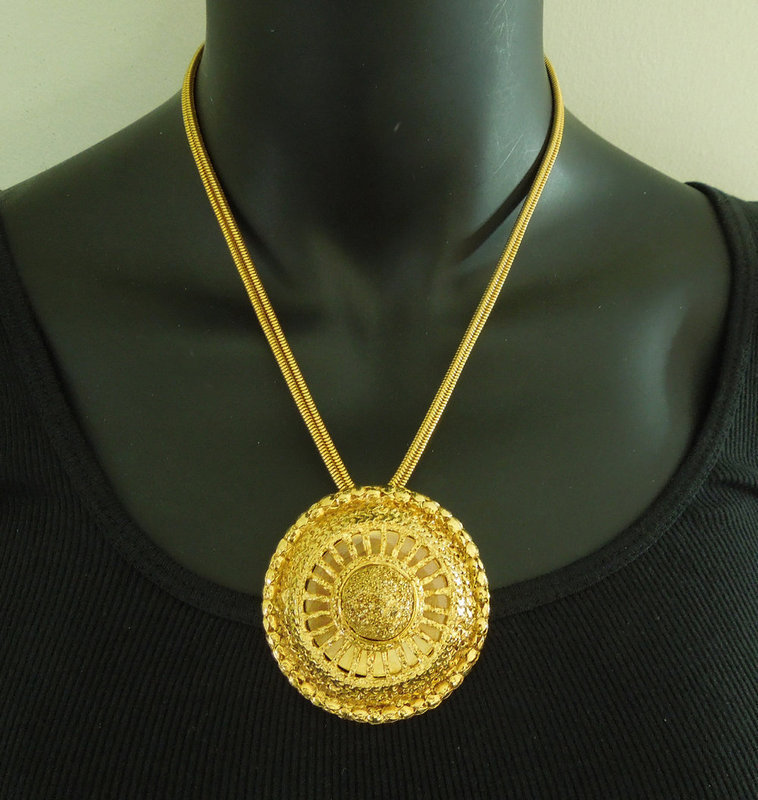 1970s Cadoro Modernist Layered Big Pendant Snake Chain Necklace