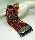 1980s Monies Carved Horn Bead 10 Strand Huge Bracelet