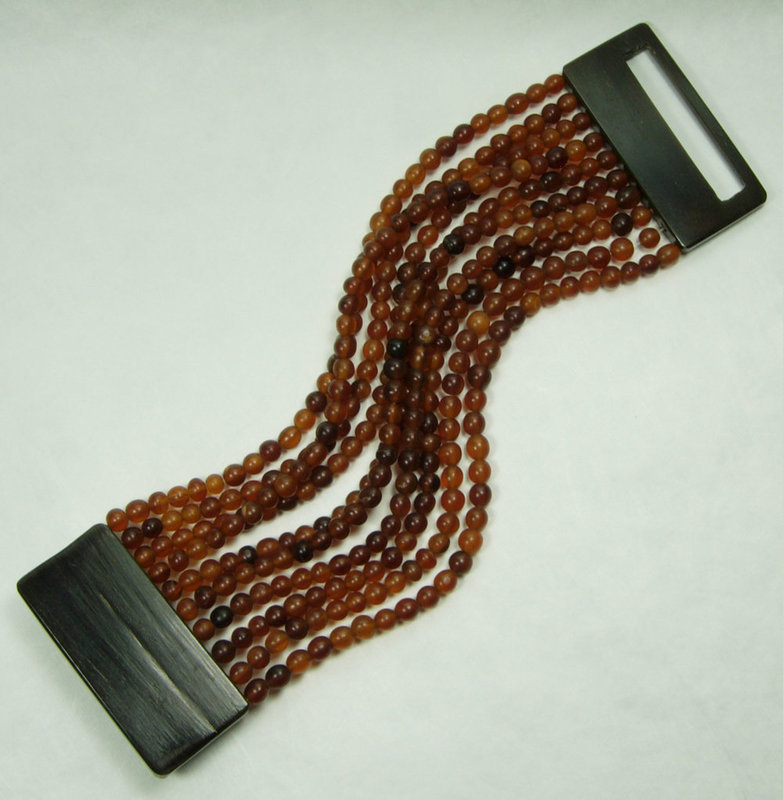 1980s Monies Carved Horn Bead 10 Strand Huge Bracelet