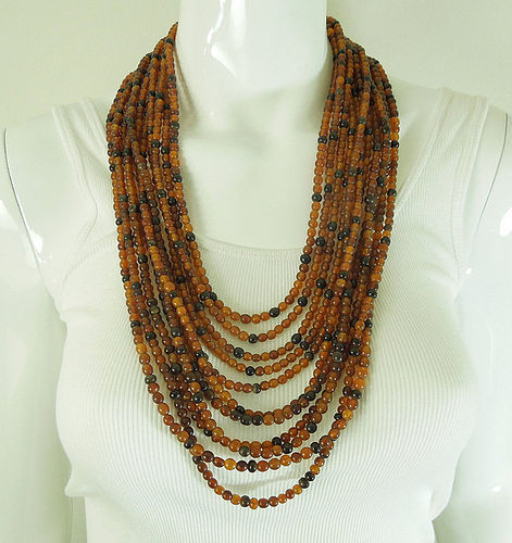 1980s Monies Carved Horn Bead 11 Strand Huge Necklace