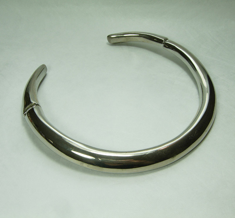 1980s Modernist Collar Choker Necklace Articulated Silvertone
