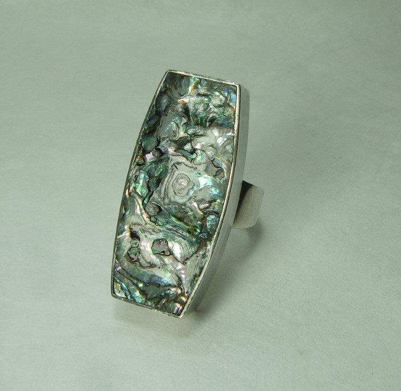 1960s Arne Johansen Denmark Statement Ring Sterling Silver Abalone