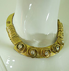 1980s French Gold Leather Necklace Rhinestone Medallions Moto Style
