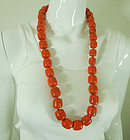 1980s Art Plastic Faux Coral Statement Size Long Beaded Necklace