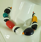 1970s French Laminated Lucite Lacquered Mod Statement Necklace