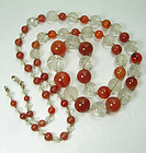 1920s Chinese Carved Rock Crystal Carnelian Necklace with Peking Glass