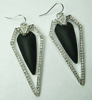 Alexis Bittar Earrings Black Lucite Crystals Art Deco Style 2.5 Inches
