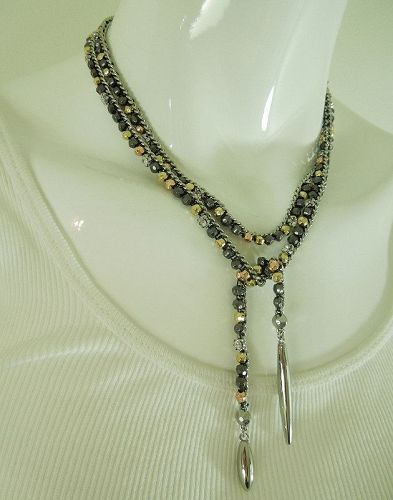 Lariat Necklace Crystals Studs Spikes Curb Chain 39 Inches Tri Color