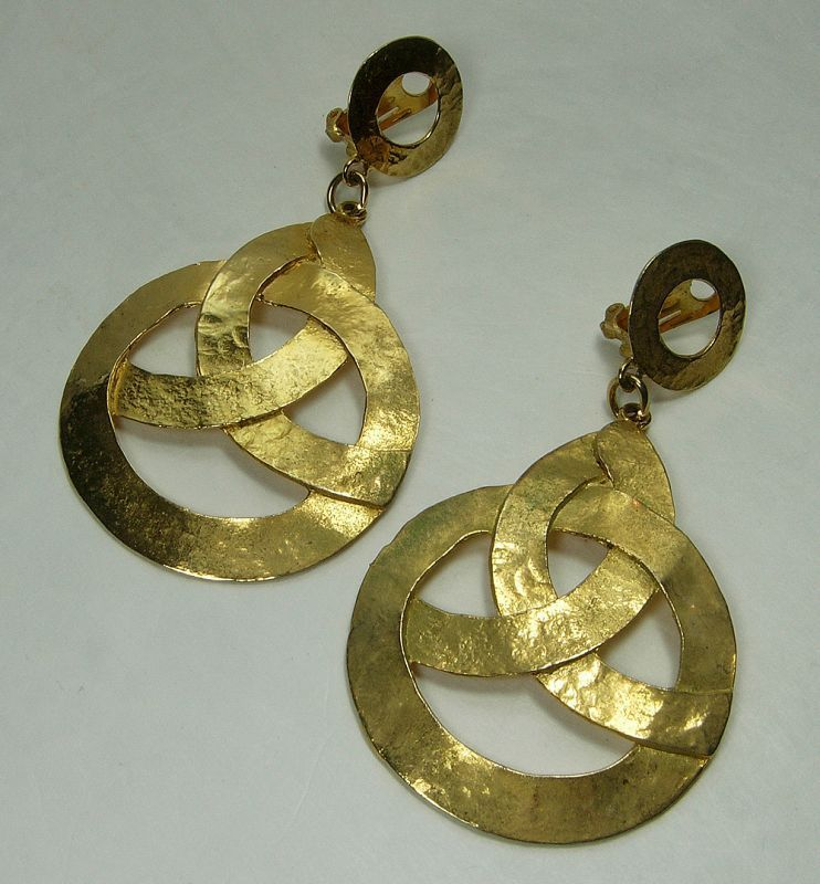1970s Cadoro Runway Earrings Etruscan Byzantine Style 3.25 Inches