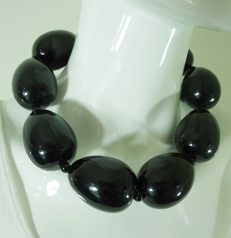 1980s Huge Modernist Monies Style Necklace Black Lucite Oblong Beads