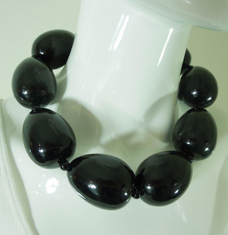 1980s Huge Modernist Monies Style Necklace Black Lucite Oblong Beads