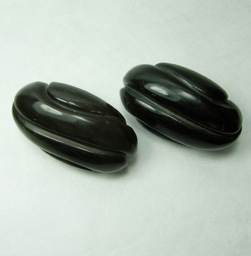 1980s Signed Monies Black Carved Horn Earrings Gerda Lynggaard Runway