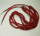 Vintage Santo Domingo Red Coral Silver Necklace 4 Strands