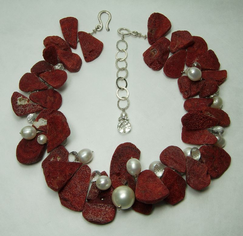 Vintage Studio Necklace Red Sponge Coral Rock Crystal Pearls Sterling
