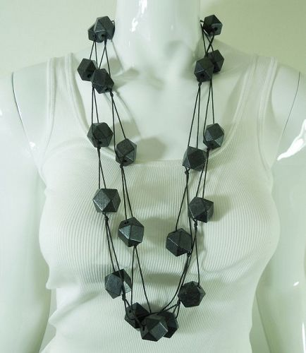 Architectural Unsigned Monies Necklace Black Wood Beads on Thin Cord