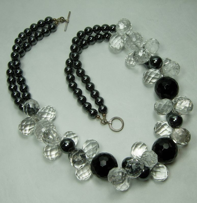 Vintage Rock Crystal Black Onyx Hematite Silver Statement Necklace