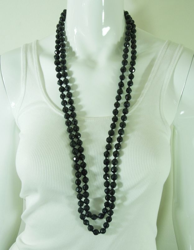 Pair 1980s Statement Black Glass Necklaces Tasselled 118 Inches Total