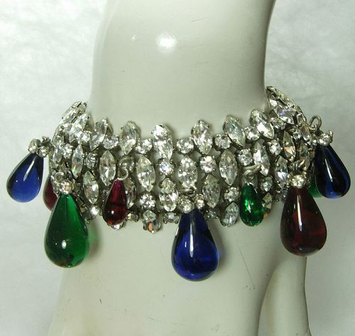 1970s French Bracelet Brilliant Diamante Jewel Tone Poured Glass Drops