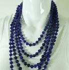 70s Cascading Cobalt Blue Poured Glass Necklace 126 Inch Hand Knotted