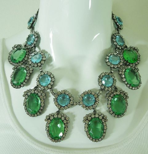 C 1990 Kenneth Lane KJL Runway Necklace Blue Green Glass Stones Strass