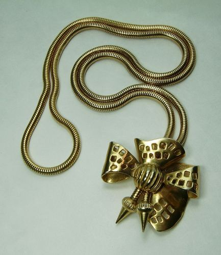Celine Paris Couture Necklace Bow Form Pendant Signed Dated 1988