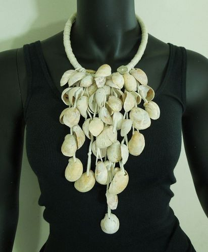 1980s Couture Statement Necklace Cascading Cream Shells Fabric Collar