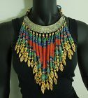 1980s Masha Archer Huge Bib Necklace Chinese Turquoise Blue Red Glass