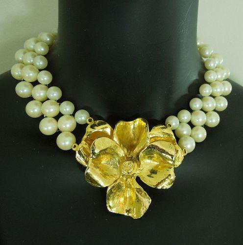 Runway Mimi di N Necklace Flower Centerpiece Faux Pearls Dated 1972