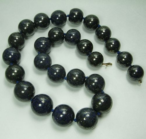 Vintage Studio Huge Lapis Lazuli 14K Necklace Runway Statement Size
