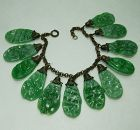 1930s Haskell Style Bracelet Faux Jade French Poured Glass Drops