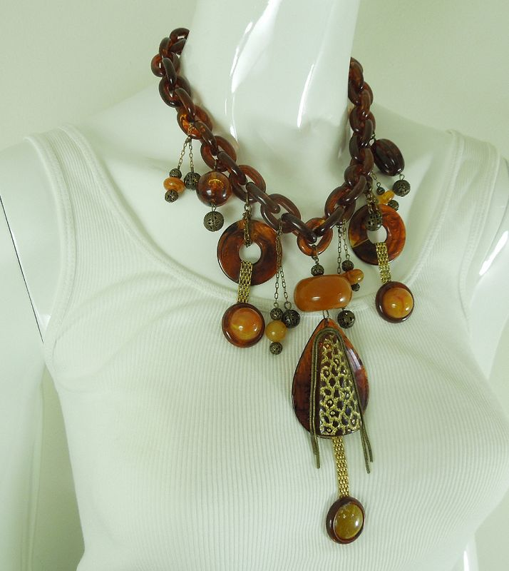 1960s French Tribal Couture Necklace Faux Amber Lucite Statement Size
