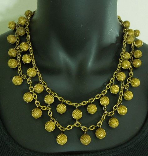 1930s French Festoon Necklace Tiered Chains Drops Goldtone Art Deco
