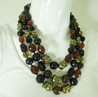 1960s Runway Huge Necklace French Poured Glass and Lucite Beads