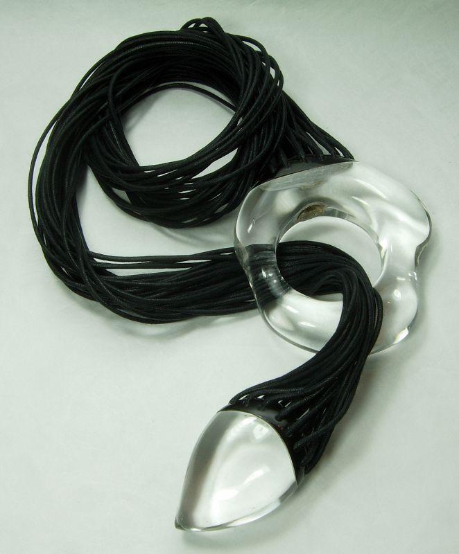 1980s Monies Lariat Necklace Clear Lucite Black Fabric Modernist