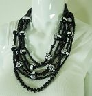 1980s Monies Style Necklace Carved Horn Painted Wood Runway Statement