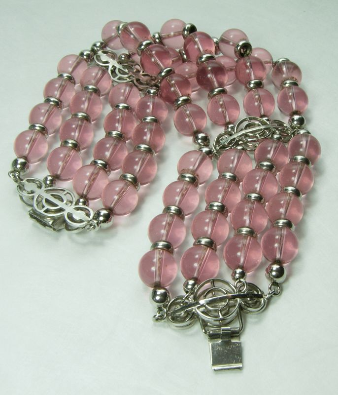 1980s Couture Pink Poured Glass Bracelet Chain Strung Statement Size