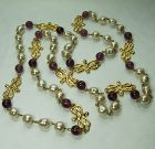 80s Couture Sautoir Wired Necklace Purple Poured Glass Pearls 45 Inch
