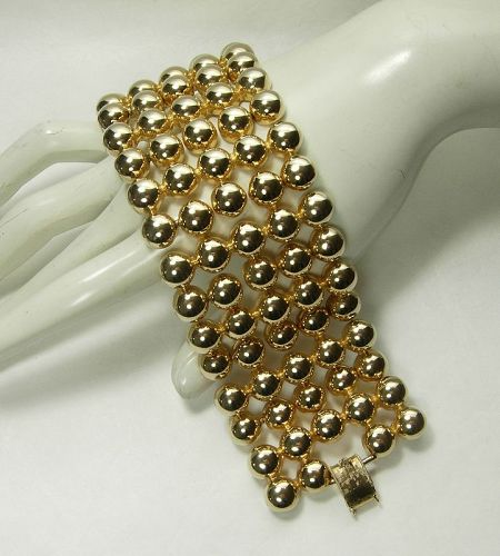 1980s Couture Modernist Heavy Articulated Link Bracelet Wide Cuff