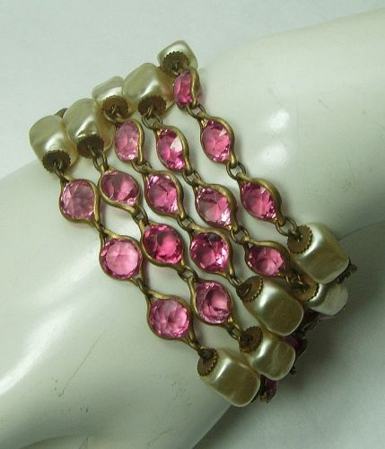 1940s French Pink Bezel Crystal Faux Baroque Pearl Bracelet Wired