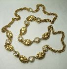 1980s Signed Chanel Necklace Matelasse Strass Heavy Couture 35 Inches