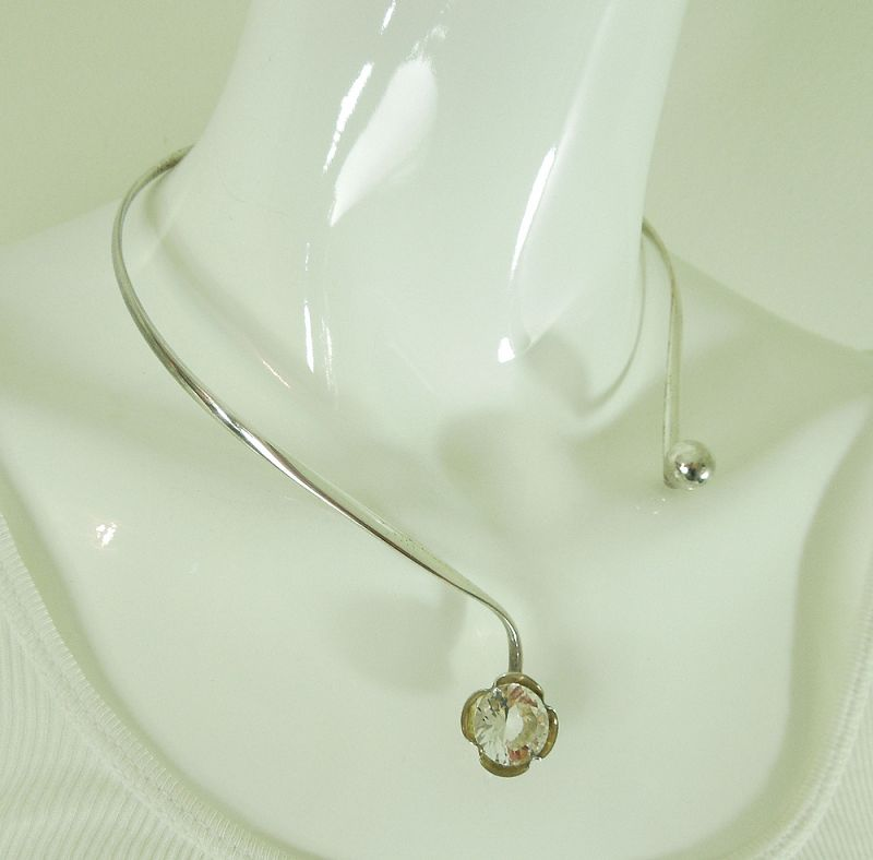 1970s Alton Sweden 935 Sterling Silver Rock Crystal Necklace Modernist
