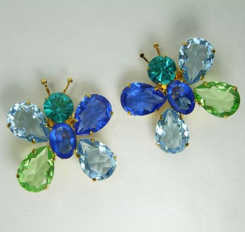 1980s Philippe Ferrandis Paris Earrings Butterflies Huge Glass Stones