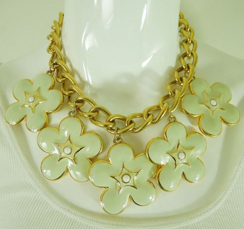 1992 Escada Runway Couture Bib Charm Necklace Pale Green Flower Drops